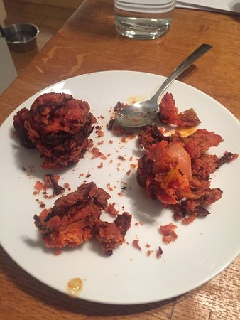 Merstham, UK: These were meant to be onion bhaji's, more like onion burnies