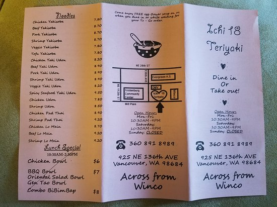 Vancouver, WA: Take out menu.