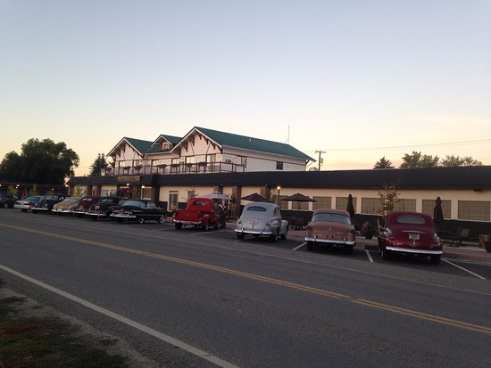 Three Forks, MT : View of Motel Front with Classic Cars!