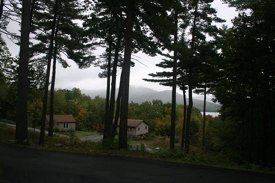 Candlelight Cottages LLC on Lake George: View from two bedroom hillside cottage #18 at end of dead end road
