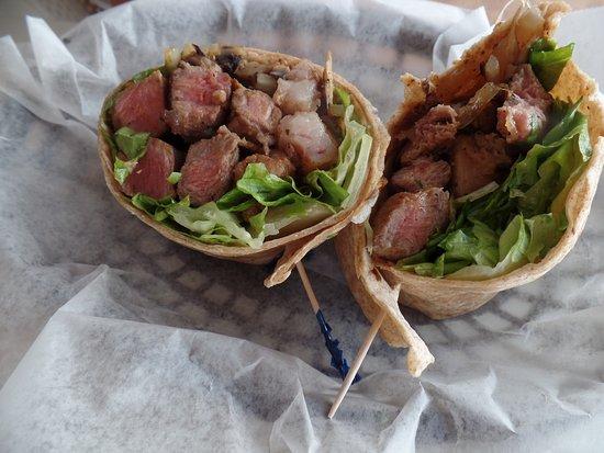 Avocado Pitt: steak wrap.