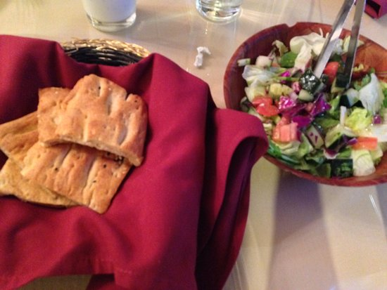 Dublin, CA: complimentary bread and salad