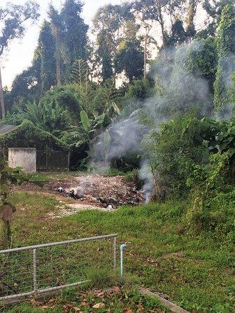 Pak Nam, Ταϊλάνδη: Müllverbrennung hinter dem Tempel