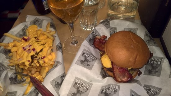 Prime Burger Company: Basic cheese and bacon with chillicheese fries..