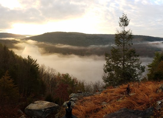 Barryville, NY: View of early morning fog rolling over the river right outside the door