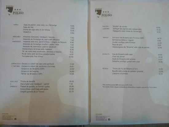 La Guingueta d'Àneu, España: Interior del comedor y carta del día.