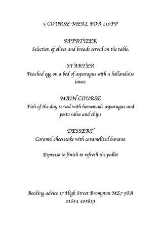 Gillingham, UK: 5 Course Evening Menu Changes Each Week