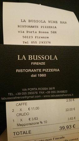 La Bussola: Our receipt