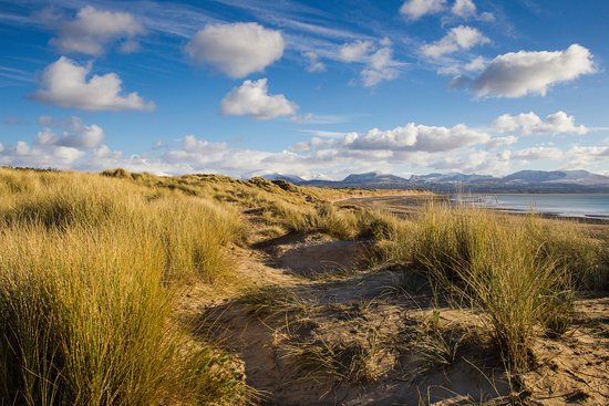 Llanfairpwllgwyngyll, UK: Looking Northeast towards the snowdonia range from Newborough Beach