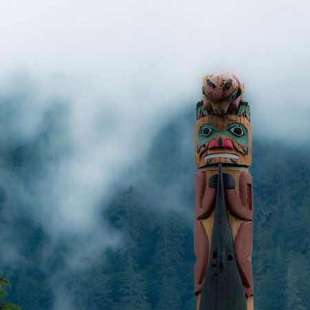 Saxman Native Village: A beautiful Totem Pole with the fog rolling in.