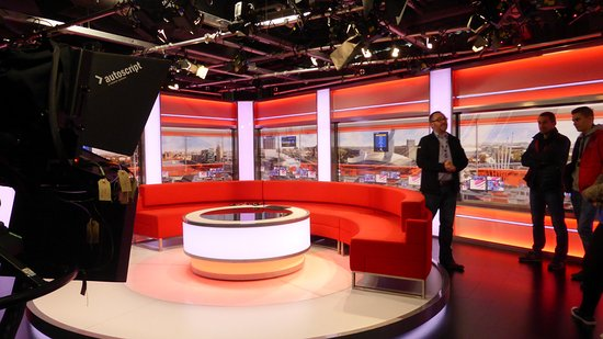 Salford, UK: The BBC Breakfast studio. The camera operator joined in and remotel operated the camera and scre