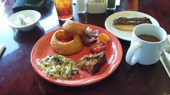 Rising Sun, IN: Meatloaf, Onion rings, Broccoli salad, and Eclair