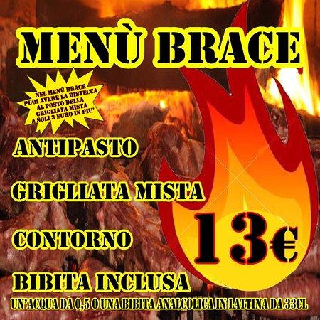 Lavinio Lido di Enea, Italia: Menù Brace €13