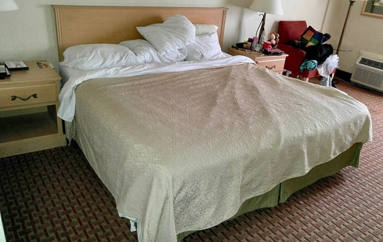 Lake Ozark, Μιζούρι: This was the bed AFTER housekeeping had finished. Room wasn't vacuumed. Bathroom was dirty.