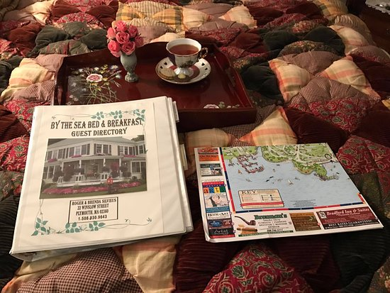 By The Sea Bed and Breakfast: Cookies and tea, along with a binder full of places to go and a map of Plymouth.