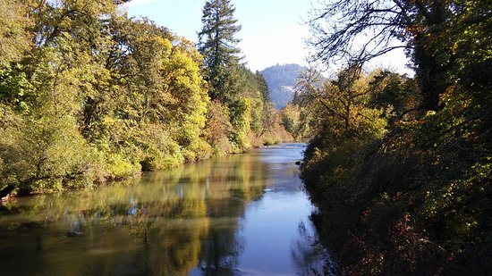 Dorena, OR: View of Row River from Currin Bridge