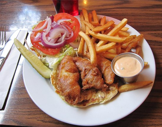 ACME Cafe : the crispy beer battered fish sandwich and fries