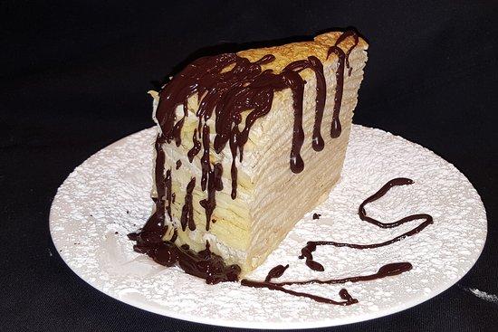 Yo'R So Sweet: Crepe cake slice with chocolate sauce