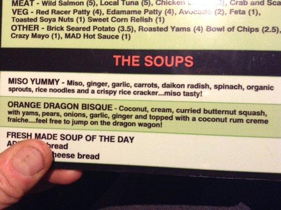 Courtenay, Canada: Part of the menu