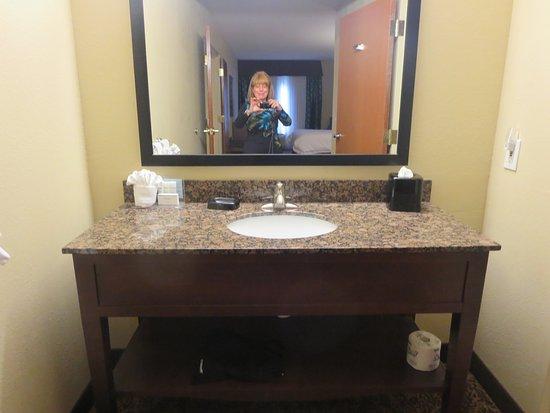 Vanity Outside Bathroom vanity outside bathroom has plenty of room for toiletries