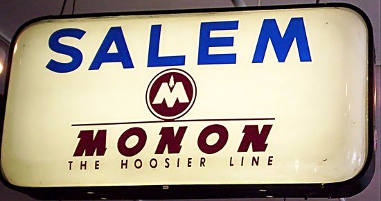 Salem, IN: The original glass sign remains undamaged
