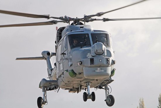 Mere, UK: A Lynx helicopter seen from the public viewing area at the Fleet Air Arm Museum, Yeovilton