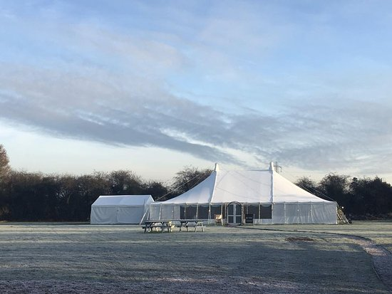 Great Moulton, UK : Marquee in the winter frost!