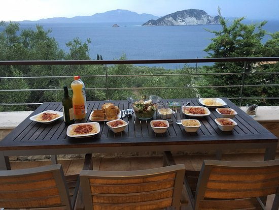 Marathias, Yunani: Our view from our balcony. Breakfast, Lunch & Dinner with a amazing view