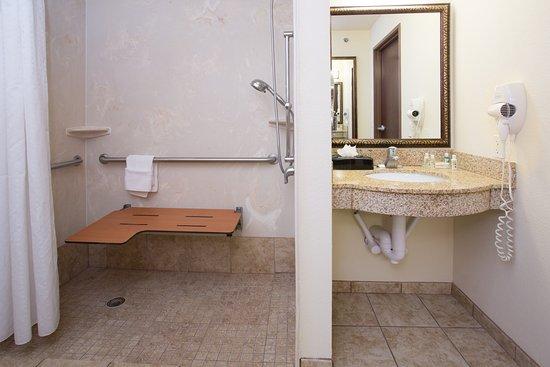 Trinidad, Colorado: ADA/Handicapped accessible Guest Bathroom with roll-in shower