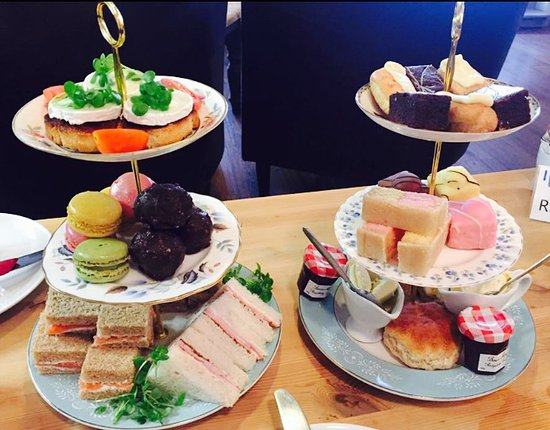 Nantwich, UK: Afternoon tea. Freshly prepared cut sandwiches, scones, selection of cakes, tea or coffee £15pp