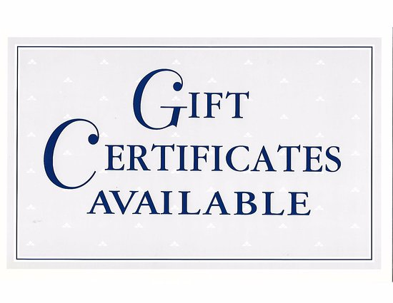 Jeffersonville, IN: Gift certificates available for any amount.