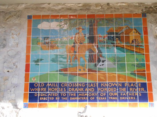 River walk tile mural old mill crossing picture of for Crossing the shallows tile mural