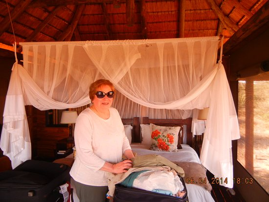 """nThambo Tree Camp: The """"cabin"""" was on stilts with bath and canvas sides with windows. Adorable balcony facing bush."""