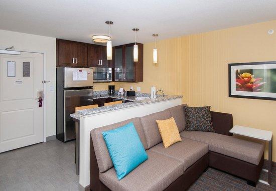 Clifton Park, Нью-Йорк: Studio Suite Living Area & Kitchen