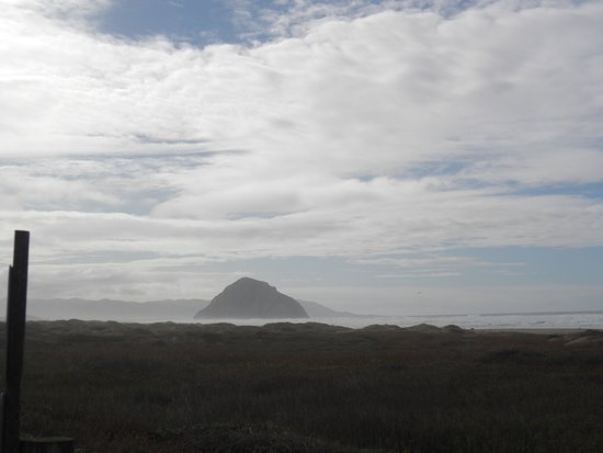 Morro Strand State Beach : View of Morro Rock from the pathway leading from the campground down to the beach.