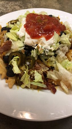 Kokomo, IN: Love the Pulled Pork Nachos! Massive plate of waffle fries, topped with pulled pork, cheese & ba