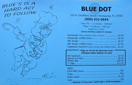 Blue Dot Barbecue : Menu