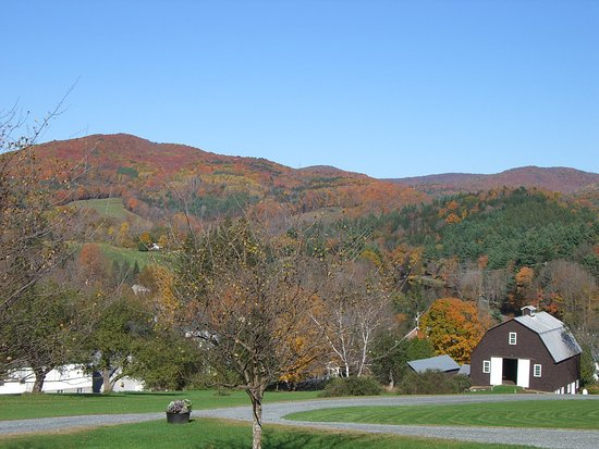 Taftsville, VT: Beautiful view of fall foliage from our room