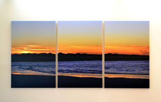 Triptych view of Brigantine Island jetty and dunes at inlet from sand bar at sunrise.