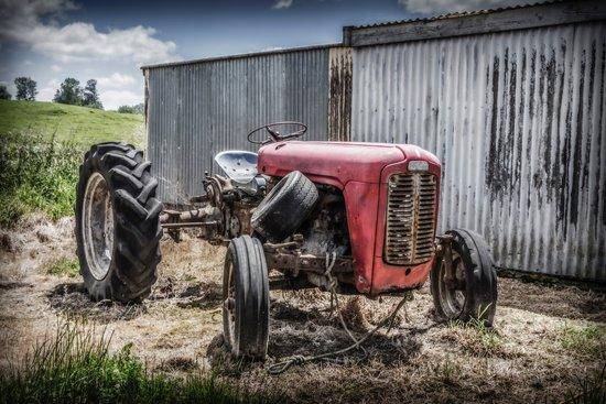 Taumarunui, Yeni Zelanda: Tractor along the rail line