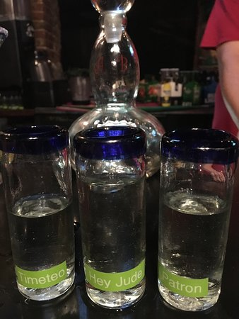 Greengos Caribbean Cantina: Our own tequila shot glasses for tequila night!