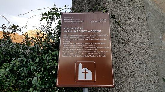 Mandello del Lario, Italia: Targa del Santuario di Santa Maria nascente a Debbio