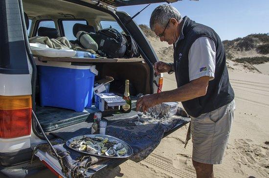 Walvis Bay, Namibia: Pause mit Austern und Champagner