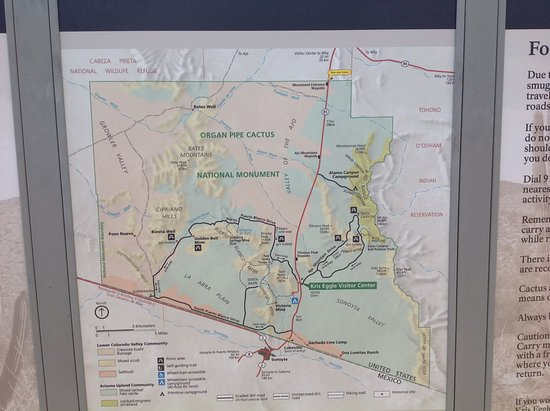 The map of Organ Pipe Cactus National Monument at the entrance ...