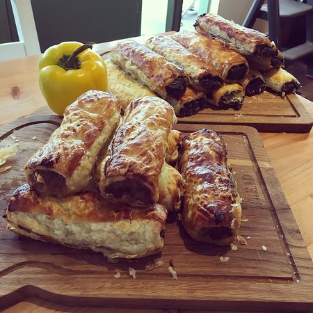 Woodford, UK: Homemade sausage and red onion chutney rolls and spinach and mushroom rolls!