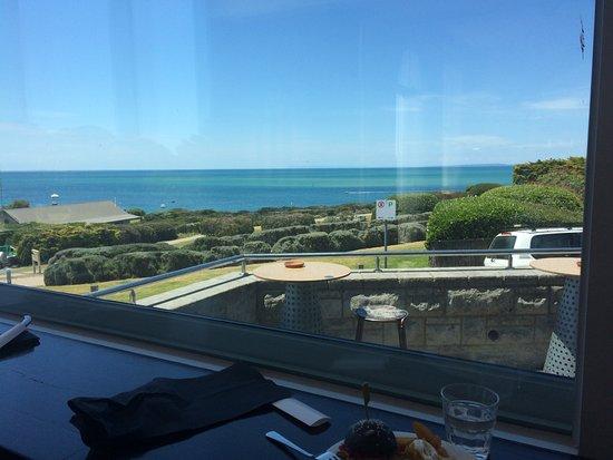 Sorrento, Australia: The window seats in the Salt Bar-Melbourne skyline in the distance.