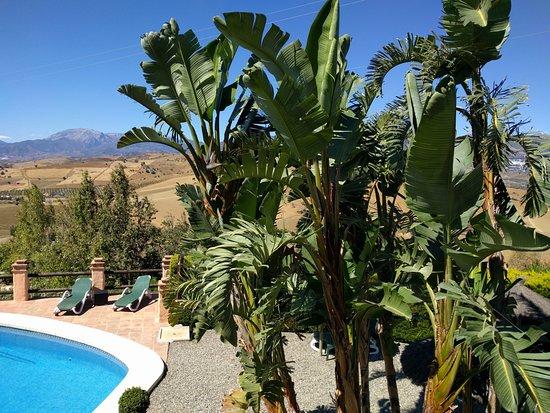 Gibralgalia, Spanien: piscina y vistas del valle y la sierra (verano)
