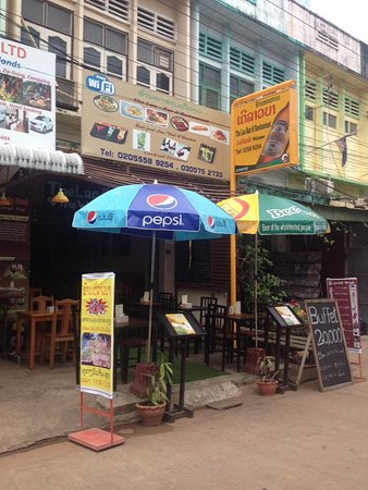Pakse, Laos: Outside restaurant in day time.