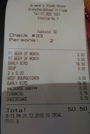 "Brownes Steakhouse: Early Bird receipt. ""Beer of the month"" was Carlsberg"