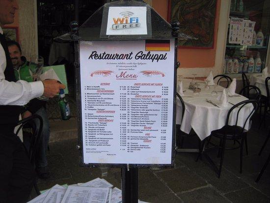 Restaurant Galuppi: menu
